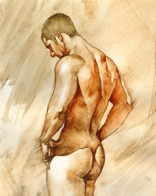 Gay Interest Male Nude Erotic Drawing Signed Wells